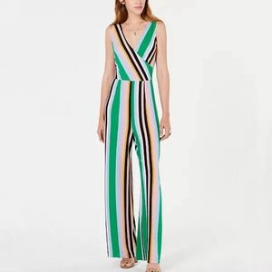 Bar III Striped V-Neck Jumpsuit Size M